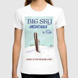 big sky Montana ski vintage travel poster T-shirt