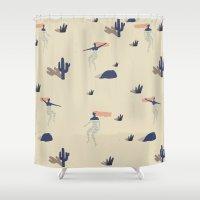 swim Shower Curtains featuring Dezert swim by .eg.