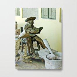 Jibaro Sculpture playing el Cuatro  Metal Print