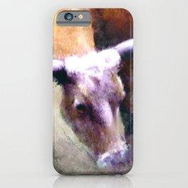 Texas Longhorn Cattle Art - Rumble Ready iPhone Case
