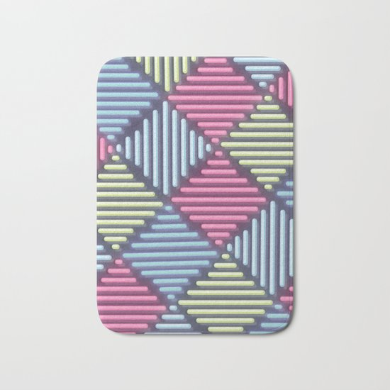 Neon Geometric Pattern Bath Mat