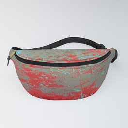 texture - aqua and red paint Fanny Pack