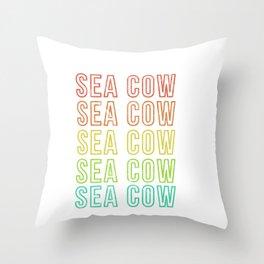 Sea Cow Retro Vintage Manatee Design Throw Pillow