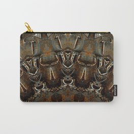 Steel Metal Brushed Bronze Textured Half Mandala Carry-All Pouch