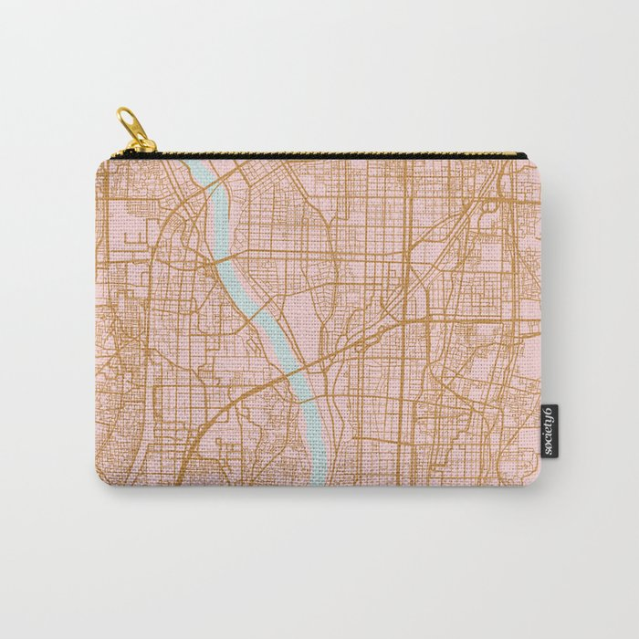 Pink and gold Kyoto map, Japan Carry-All Pouch