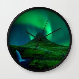 Northern Lights Over Kirkjufell Mountain, Iceland Wall Clock