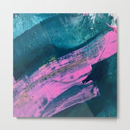 Wild [1]: a bold, vibrant abstract minimal piece in teal and neon pink Metal Print