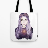 cara delevingne Tote Bags featuring Cara Delevingne by Alana Mays Creative