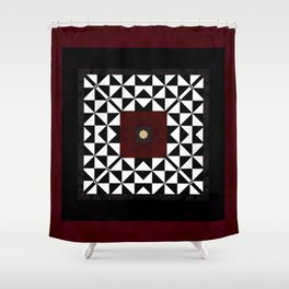 Ruby Red Marble w/ Blk & White Geometrica Pattern Insert Shower Curtain