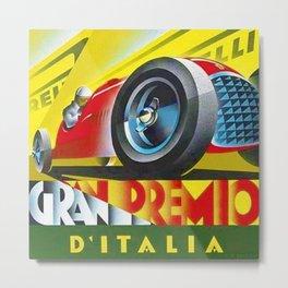 1949 Italian Grand Prix Ascari Motor Racing Vintage Poster Metal Print
