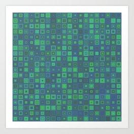 Green Abstract Square Pattern Big Art Print