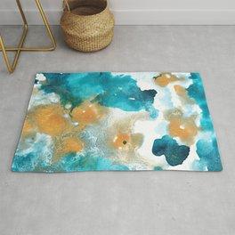 Aqua Teal Gold Abstract Painting #2 #ink #decor #art #society6 Rug