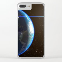 Night Lighted Earth from space Clear iPhone Case