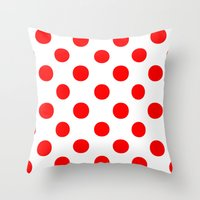 polka dots Throw Pillows featuring Polka Dots (Red/White) by 10813 Apparel