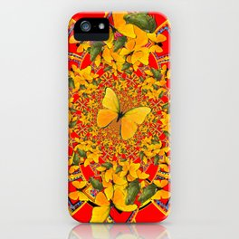 GREEN FROGS & BUTTERFLY RED MANDALA iPhone Case