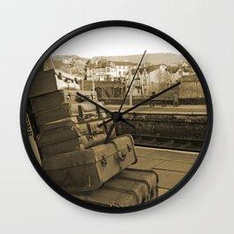 Llangollen Railway Station, Wales,  in Sepia Wall Clock