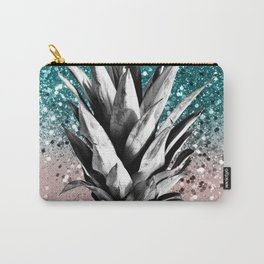 Pineapple Tropical Summer Vibes Glitter Glam #1 #tropical #fruit #decor #art #society6 Carry-All Pouch