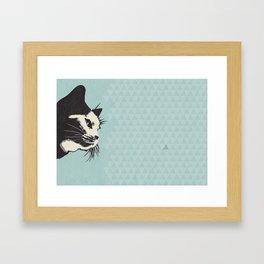 Cat on Blue - Lo Lah Studio Framed Art Print