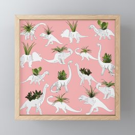 Dinosaurs & Succulents Framed Mini Art Print
