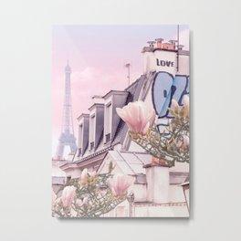 Paris with its Eiffel Tower and Magnolias - Vintage Romantic Metal Print