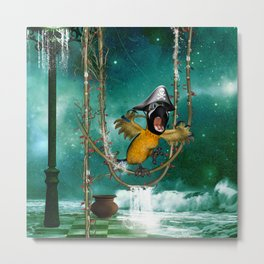 Funny pirate parrot with hat Metal Print