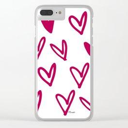 Lovely hearts - fuchsia heart pattern Clear iPhone Case
