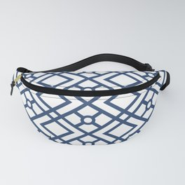 Modern Geometric Diamonds and Circles Pattern Navy Blue and White Fanny Pack