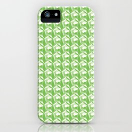 3D Optical Illusion: Green Dodecahedron Pattern iPhone Case