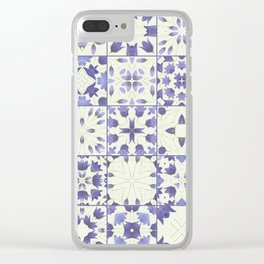 Flower Bell Azulejos Clear iPhone Case