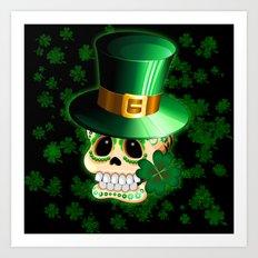 St Patrick Skull Cartoon  Art Print