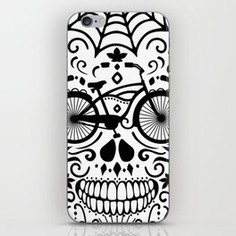 Vintage Mexican Skull with Bicycle - black and white iPhone Skin
