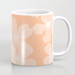 Pink primroses on coral floral pattern Coffee Mug
