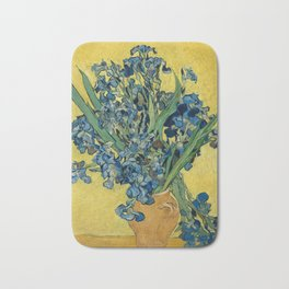 Still Life: Vase with Irises Against a Yellow Background Bath Mat