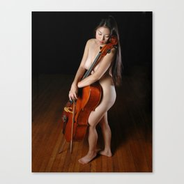 0199-JC Nude Cellist with Her Cello and Bow Naked Young Woman Musician Art Sexy Erotic Sweet Sensual Canvas Print