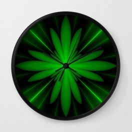 Neon Green Flower Fractal Wall Clock