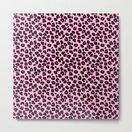 Cotton Candy Pink and Black Leopard Spots Animal Print Pattern Metal Print