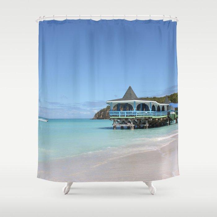 Tropical Paradise Pier On Antigua Shower Curtain