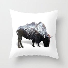 Bison Buffalo Double Exposure Surreal Wildlife Native Animal Throw Pillow