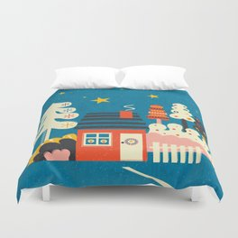 Festive Winter Hut Duvet Cover