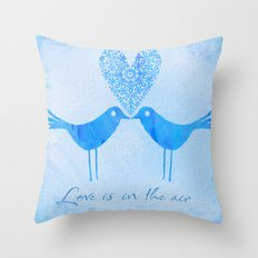 cute watercolor birds with heart and Love is in the air Throw Pillow