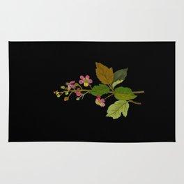 Rubus Fruiticosus Mary Delany Vintage Botanical Collage Paper Flowers Rug