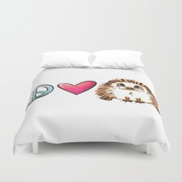 Peace, Love and Hedgehogs Duvet Cover