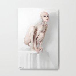 Perched White Alien Woman Metal Print