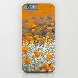 Babies Breath and Golden Poppies of California by Reay of Light Photography iPhone Case
