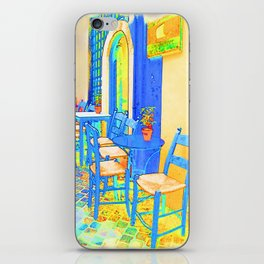 Greek Coffee Place Gold and Blue iPhone Skin