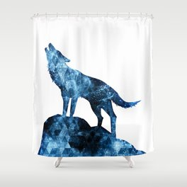 Howling Wolf blue sparkly smoke silhouette Shower Curtain