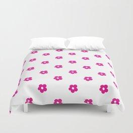 Hot Pink Ditsy Dot Flower Pattern Duvet Cover