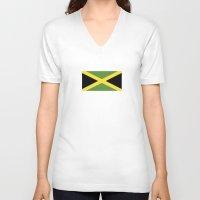 jamaica V-neck T-shirts featuring jamaica country flag  by tony tudor