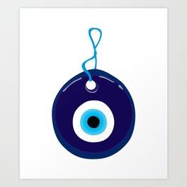 Blue Evil Eye Bead Art Print