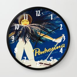 Vintage Travel Pontresina Switzerland Wall Clock